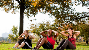 diverse small group workout outdoors