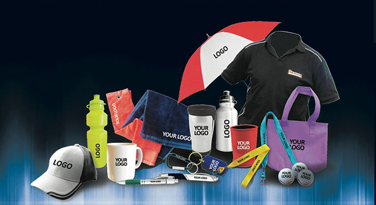 Example of promotional produts with company logo on them.