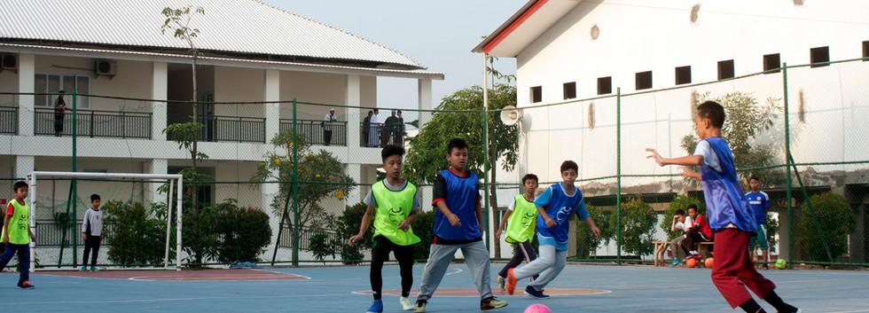 Students are playing futsal