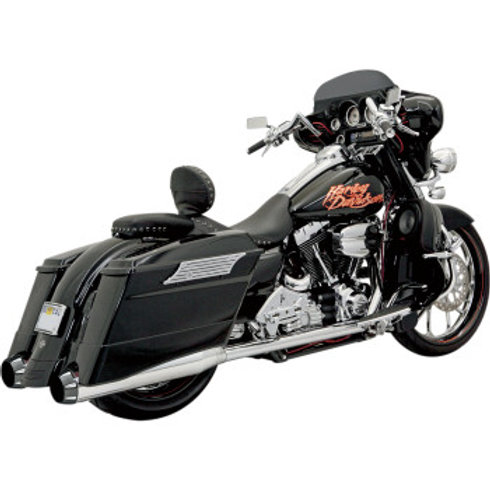 Bassani Xhaust +P Bagger Stepped True Duals with Power Curve, CHROME