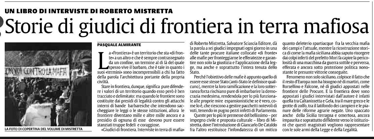 Articolo La Sicilia su Giudici di frontiera