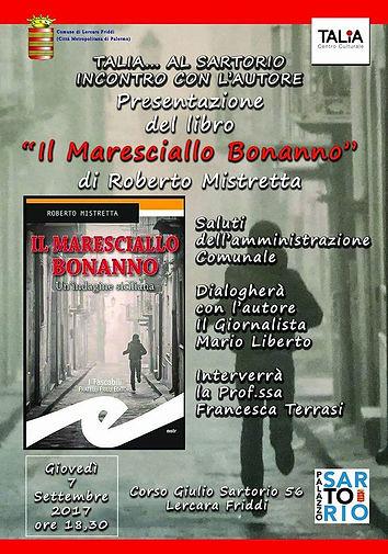 Locandina Il maresciallo Bonanno romanzo di Roberto Mistretta