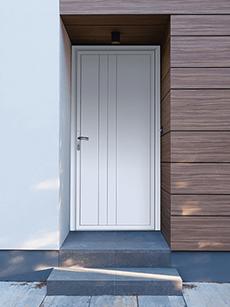 Porta de entrada branca simples
