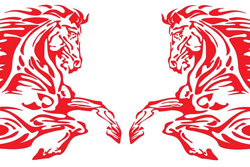 Pair Horse and Flames Decal