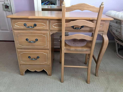 Vintage Ethan Allen Side French Provincial desk with chair