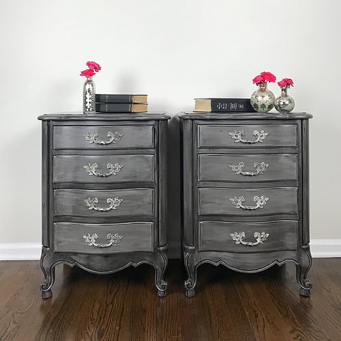 Gray Vintage Nightstands