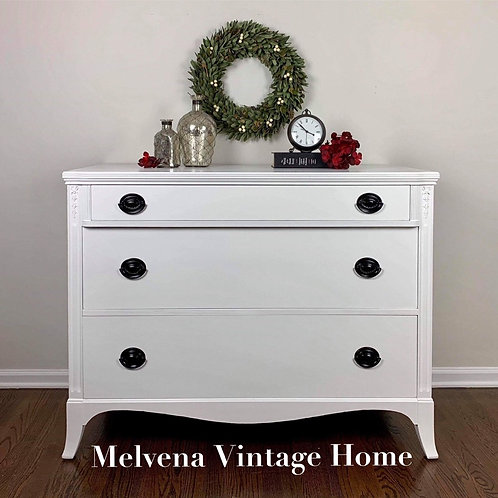 Vintage 3 drawer white dresser
