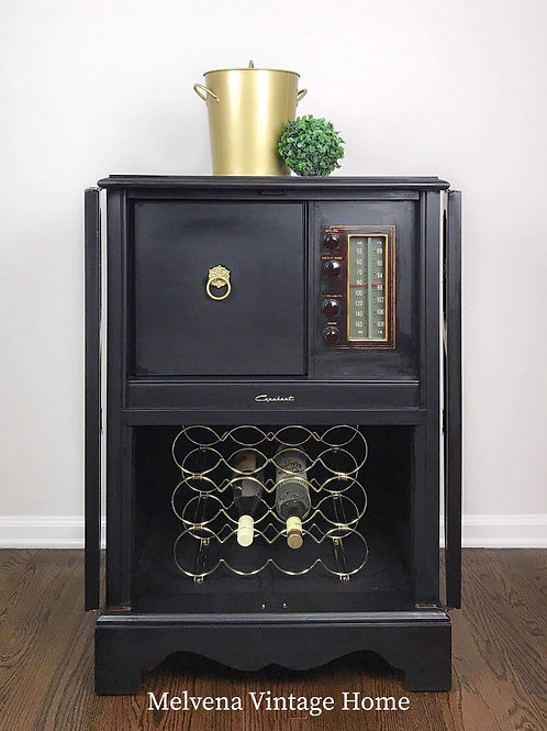 SOLD! Speakeasy upcycled bar cabinet