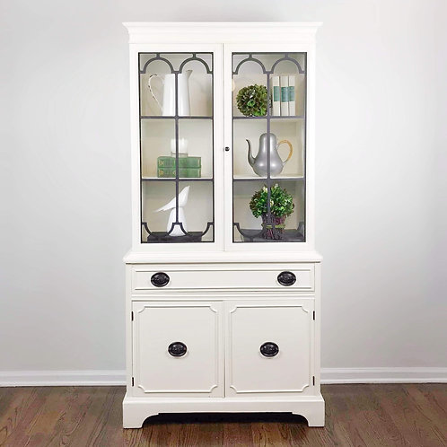 SOLD! Vintage China Cabinet in Antique White