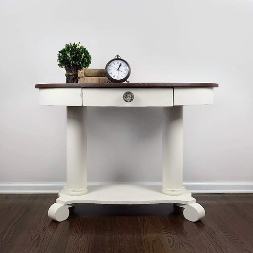 Oval pedestal console or entry table