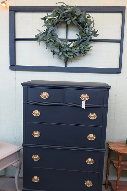 Navy Vintage Hepplewhite Dresser