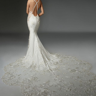 Wedding dresses with dramatic trains