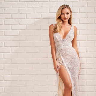 sparkly wedding dresses with a slit