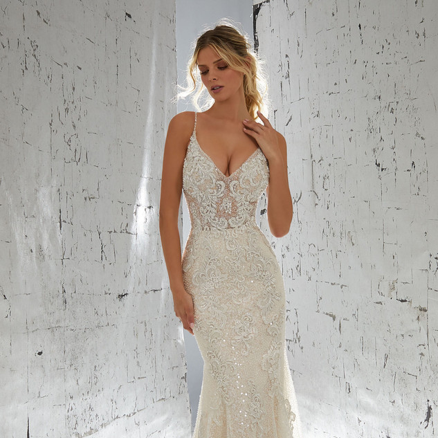 Wedding dress with a plunge