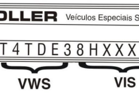 Localização do VIN - Numeração de Identificação de Veículo do Troller