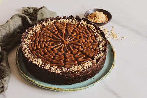 Torta Caramelo de Amendoim com Chocolate - vegano, sem glúten, sem lácteos