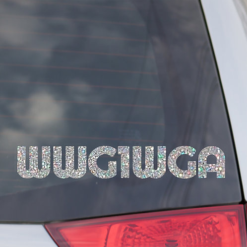 WWG1WGA Holographic Glitter Silver Decal