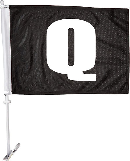 Q Black Car Flag