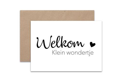 Postkaart 'Welkom Klein Wondertje'