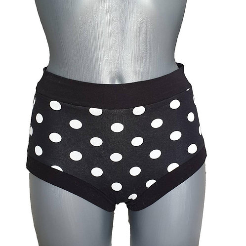 Black with White Polka Dots Shorts for Pole Dance and Yoga Training