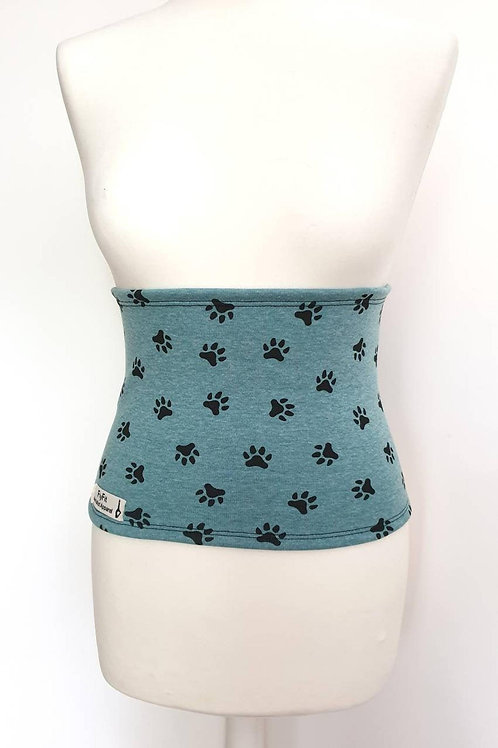 Fleece Back Warmer Green-Blue with Paws Pattern