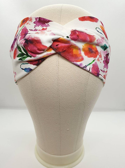 Cotton Turban Headband with Flowers Pattern