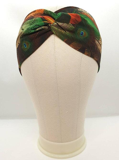 Cotton Turban Headband with Feathers Pattern