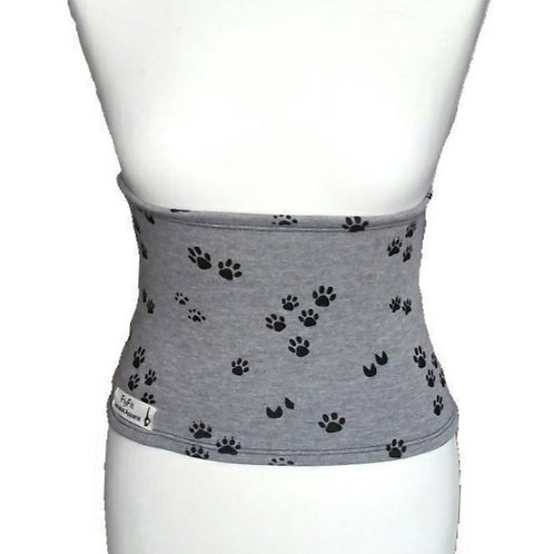 Fleece Back Warmer Gray with Paws Pattern