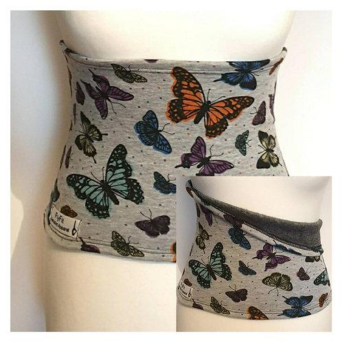 Fleece Back Warmer Grey with Butterflies Pattern