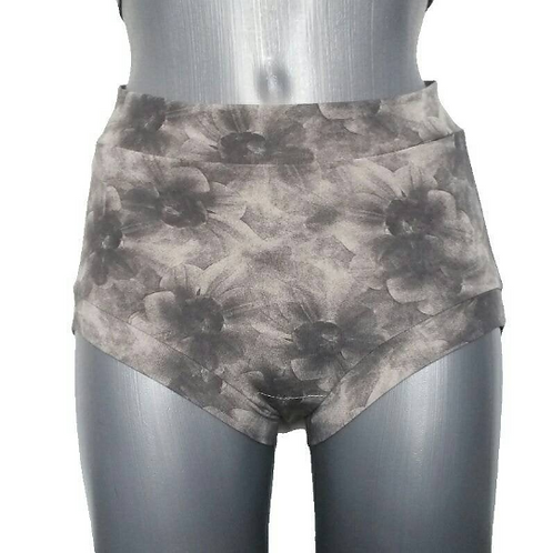 Gray Flowers Pattern Shorts for Pole Dance and Yoga Training