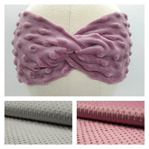 Fleece Turban Headband Pink/Gray