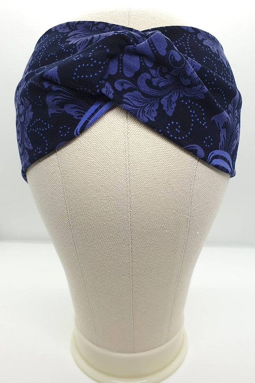Cotton Turban Headband Black/Dark Blue with Purple Flowers