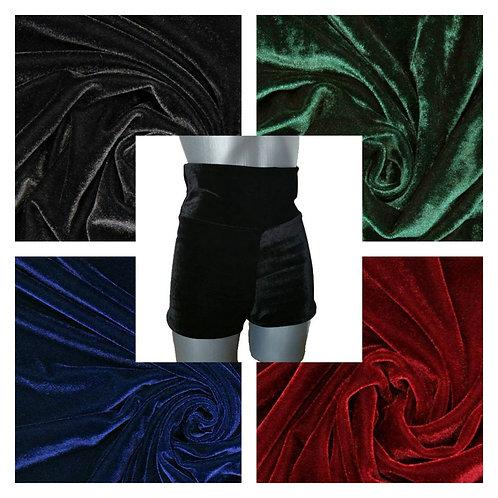 High Raise Velvet Shorts