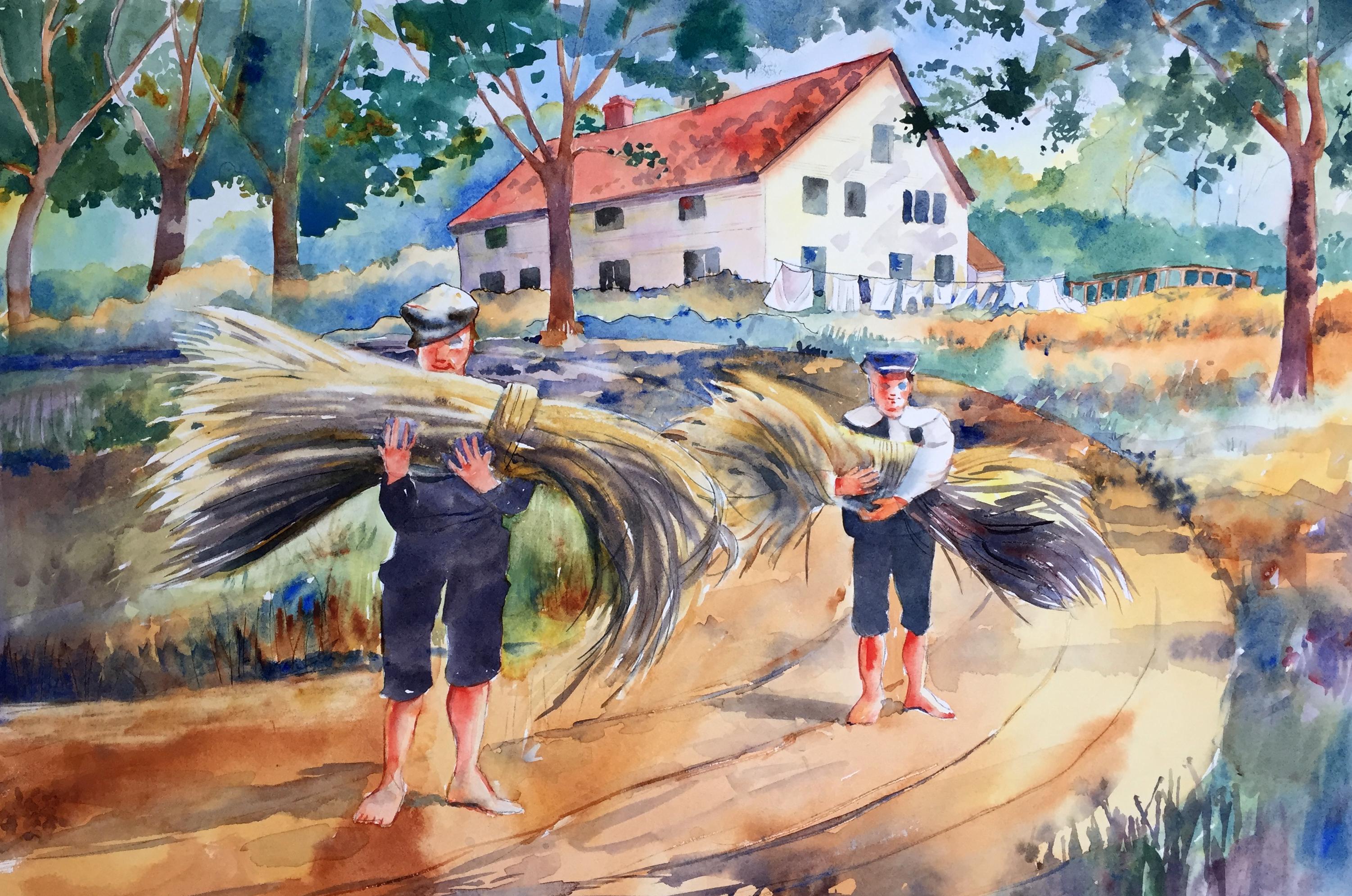 Boys Gathering the Hay