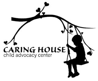 Caring House Child Advocacy Center CHCAC CAC offical logo. Tree branch growing heart-shaped leaves. Wood and rope swing hanging from tree branch with child sitting on it. Child's swing on tree branch with heart leaves.