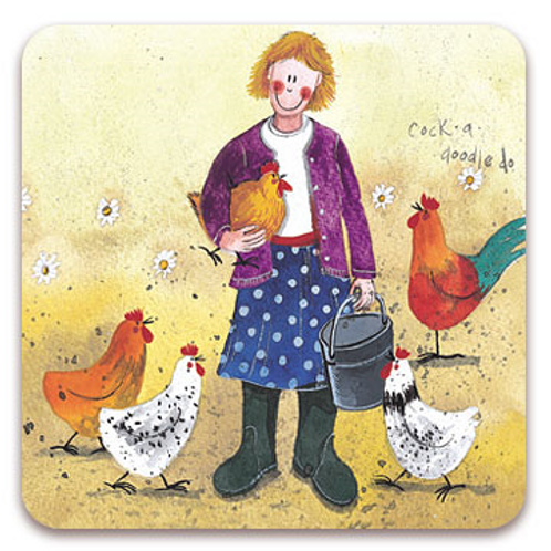 2 x Coasters Chicken Lady