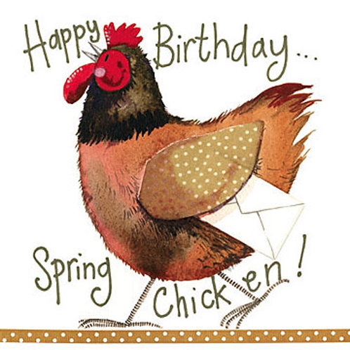 Spring Chicken Sparkle Birthday Card