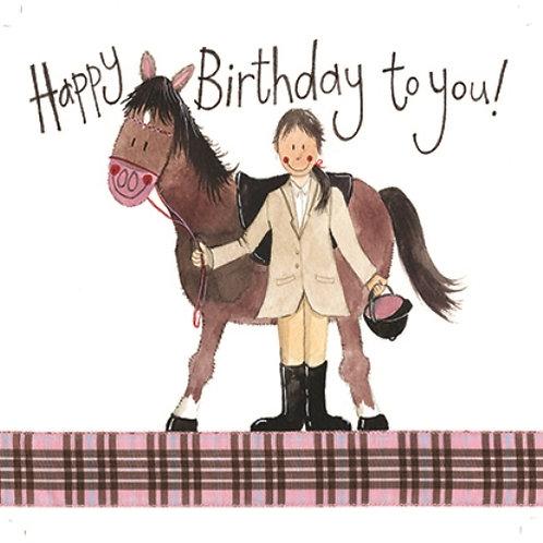 Girl & Pony Happy Birthday Card
