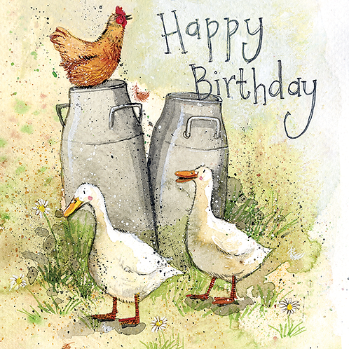Milk Churns Happy Birthday Card