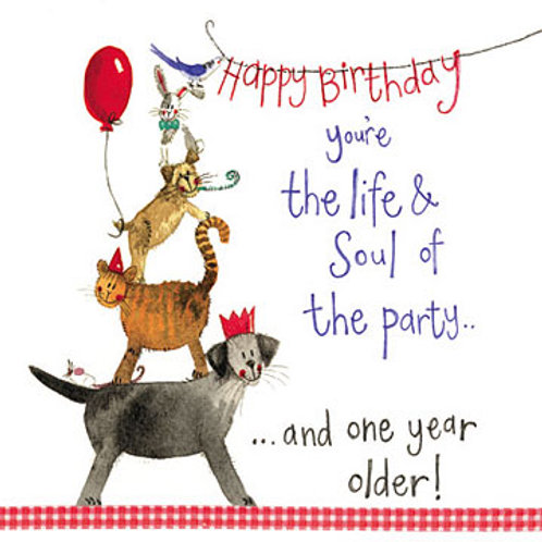 Life & Soul Dog & Cat Birthday Card