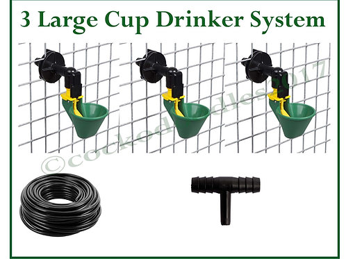 AUTO DRINKING SYSTEM FOR POULTRY WITH 3 GREEN LARGE CUPS