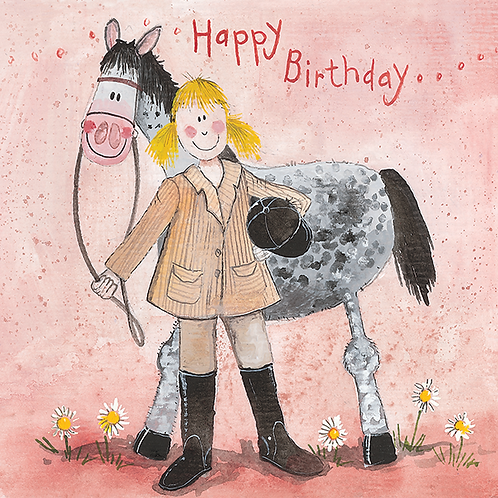 Girl and Horse Birthday Card