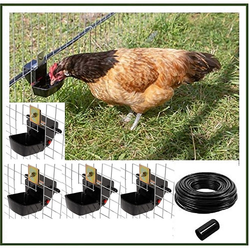 AUTO DRINKER/DRINKING (TILT) SYSTEM FOR POULTRY/DUCKS WITH 4 LARGE TROUG