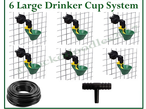 AUTO DRINKING SYSTEM FOR POULTRY WITH 6 GREEN LARGE CUPS