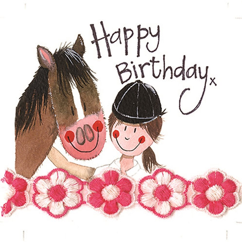 Horse and Rider Sparkle Card -Happy Birthday