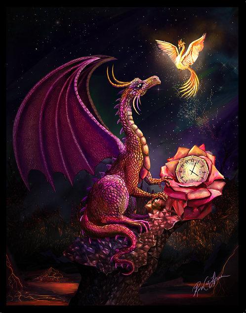 """Scarlet Time Dragon 11 x 14"""" Print"""