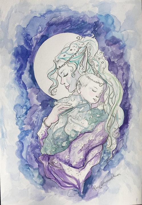 Moonlight Keep you Safe: Watercolor Original
