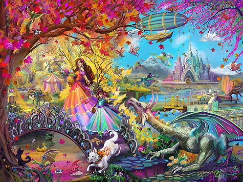 Autumn Castle Festival 1000 or 300 Piece Puzzle, signed by the artist