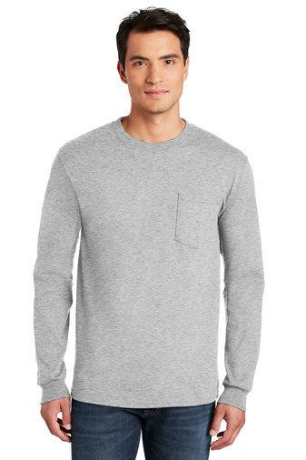 Gildan® - Ultra Cotton® 100% Cotton Long Sleeve T-Shirt with Pocket