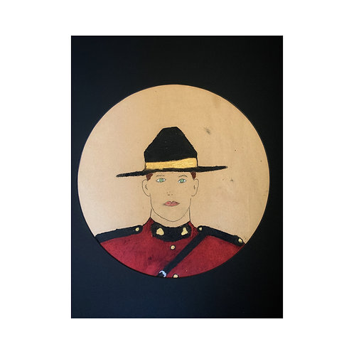 LIMITED EDITION BRUNETTE HAIR MOUNTIE PAINTING